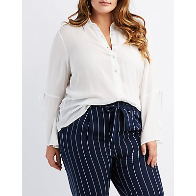 Plus Size Tie-Sleeve Button-Up Top