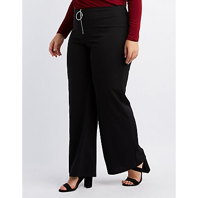 Plus Size Zip-Up Palazzo Pants