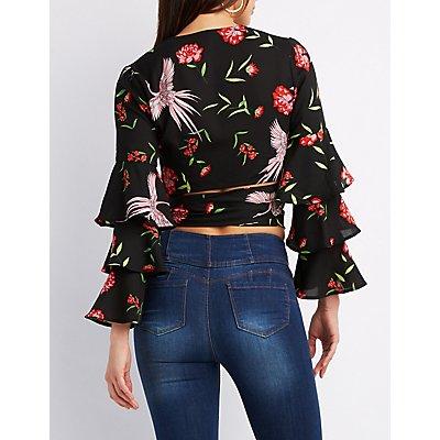 Floral Wrap-Tie Crop Top