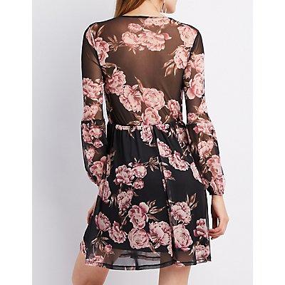 Floral Mesh Wrap Skater Dress