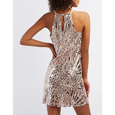 Sequins Bib Neck Shift Dress