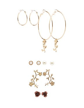 Flower Stud, Hoop & Drop Earrings - 6 Pack