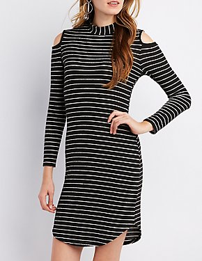 Mock Neck Cold Shoulder Knit Dress