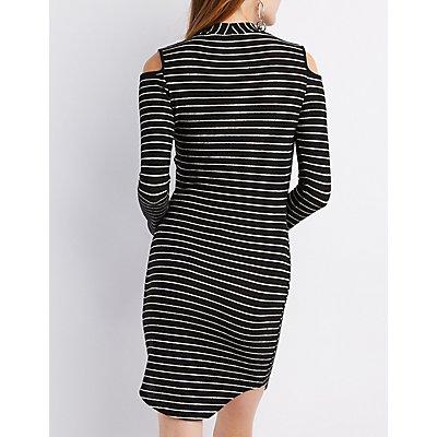 Mock Neck Cold Shoulder Knit Dress