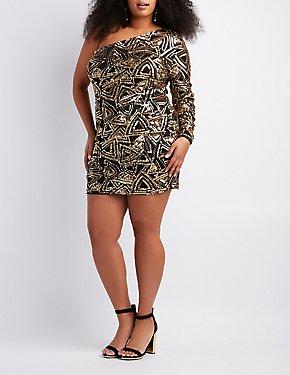 Plus Size Sequins One Shoulder Bodycon Dress