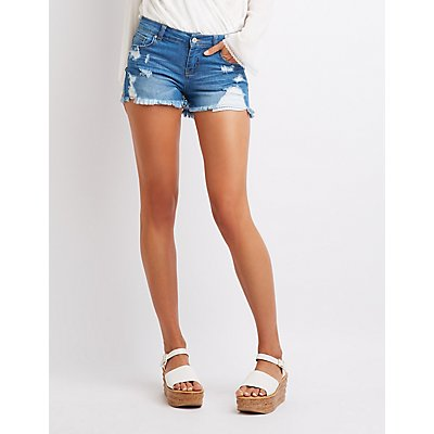 Destroyed Mid-Rise Cheeky Denim Shorts