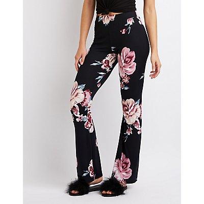 Floral Knit Flare Pants