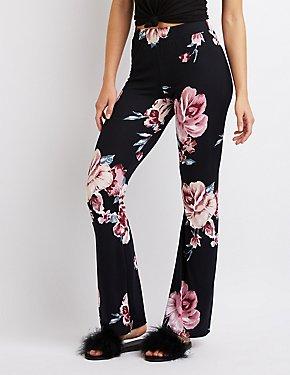 Floral Knit Flare Pants