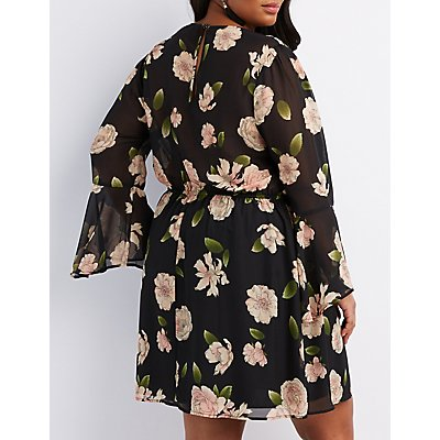Plus Size Floral Surplice Bell Sleeve Dress
