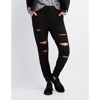 Destroyed Drawstring Jogger Pants