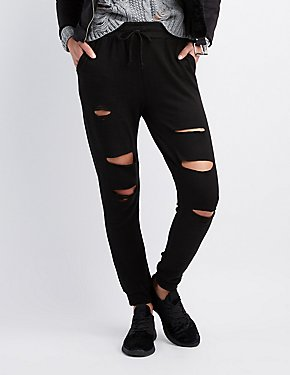 Destroyed Drawstring Jogger Pants