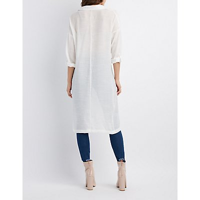 Knotted Open-Front Tunic Top