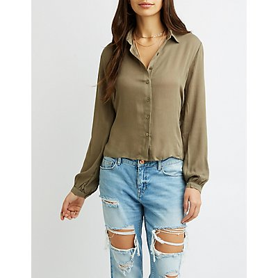Tie-Back Button-Up Top
