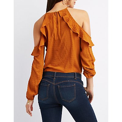 Ruffle-Trim Cold Shoulder Tie-Front Top