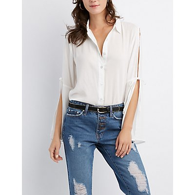 Tie-Sleeve Button-Up Top
