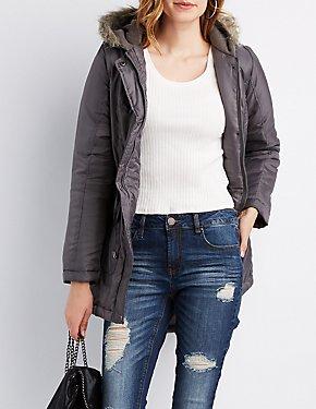 Faux Fur Hooded Long Jacket