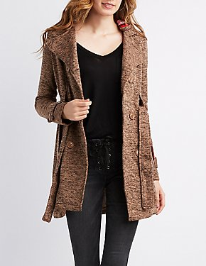 Marled Double-Breasted Hooded Coat