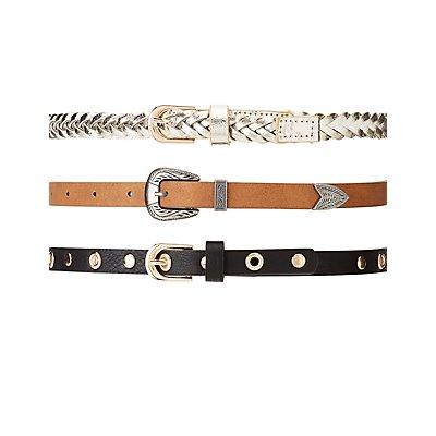Plus Size Grommet & Faux Leather Belts - 3 Pack