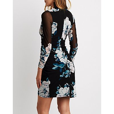 Floral Mesh Surplice Wrap Bodycon Dress