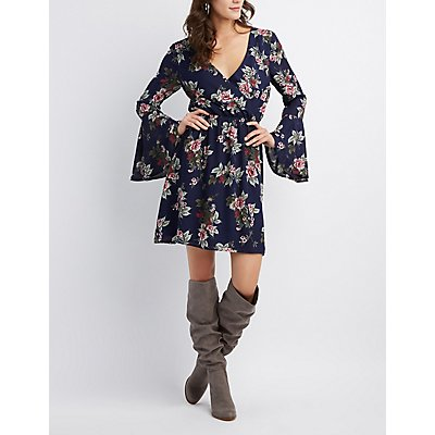 Floral Bell Sleeve Surplice Dress