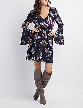 Floral Bell Sleeve Surplice Dress