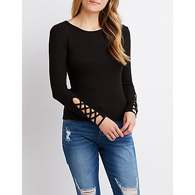 Lattice-Detailed Ribbed Knit Top