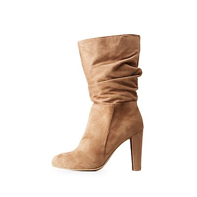 Faux Suede Ruched Boots
