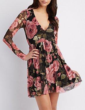 Floral Plunging Mesh Skater Dress