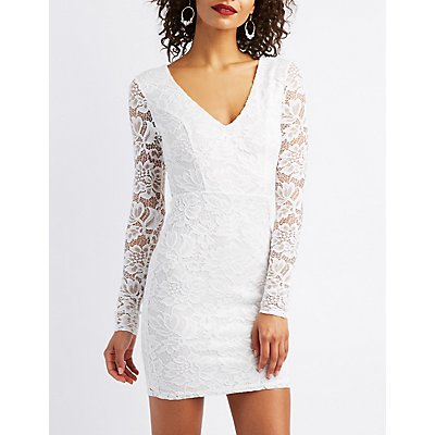 Lace Open-Back Bodycon Dress