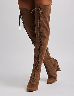 Faux Suede Lace-Up Over-The-Knee Boots