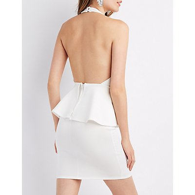 Caged Peplum Bodycon Dress