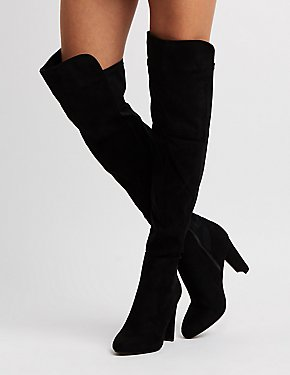 Faux Suede Over-The-Knee Combo Boots