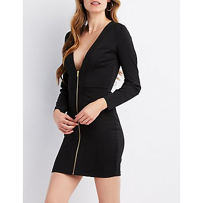 Zip-Front Bodycon Mini Dress