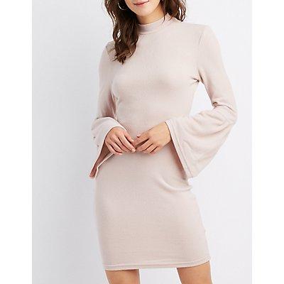 Mock Neck Bell Sleeve Sweater Dress