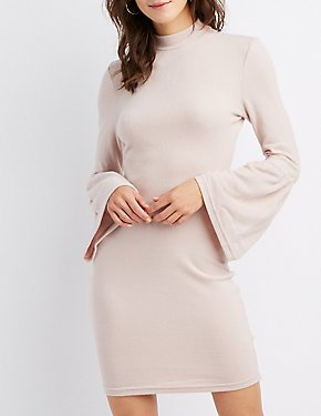 Mock Neck Bell Sleeve Sweater Dress