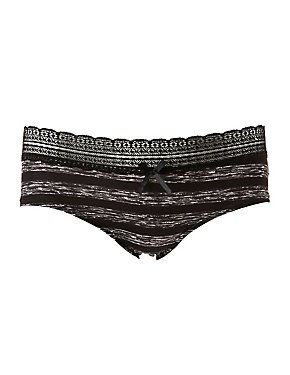 Striped Lace-Trim Cheeky Panties