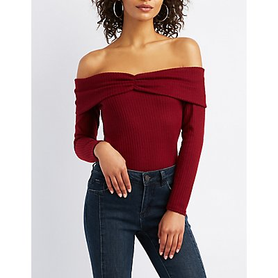Ribbed Hacci Off-The-Shoulder Top