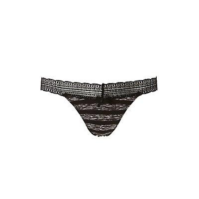 Caged-Back Lace-Trim Thong Panties