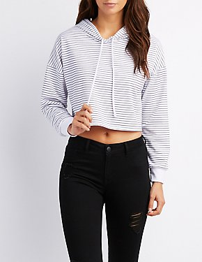 Striped Drawstring Cropped Hoodie
