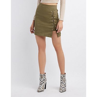 Lace-Up Twill Skirt