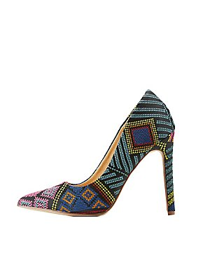 Embroidered Pointed Toe Pumps