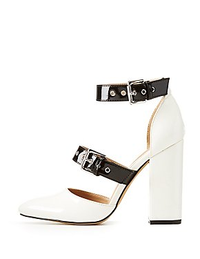 Patent Faux Leather Buckle Block Pumps