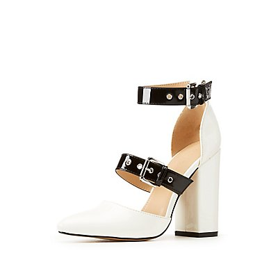Buckle Color Block Pumps