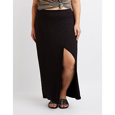Plus Size Maxi Wrap Skirt