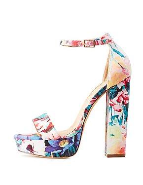 Floral Ankle Strap Platform Sandals