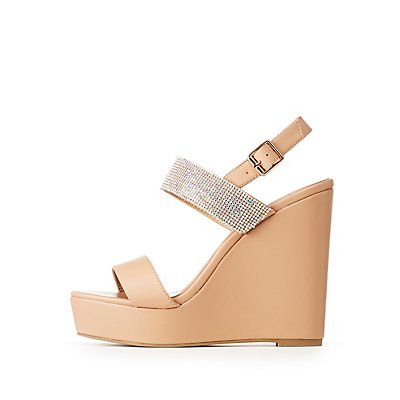 Rhinestone Embellished Wedge Sandals