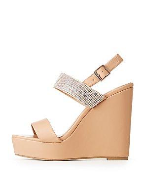 Rhinestone Embellished Wedge Sandals