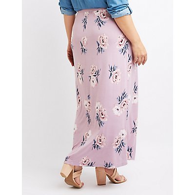 Plus Size Floral Maxi Wrap Skirt