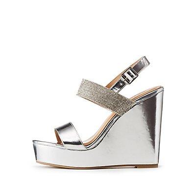 Rhinestone Embellished Metallic Wedge Sandals