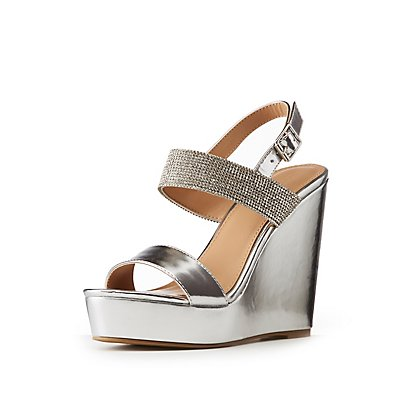 Rhinestone Embellished Metallic Wedge Sandals
